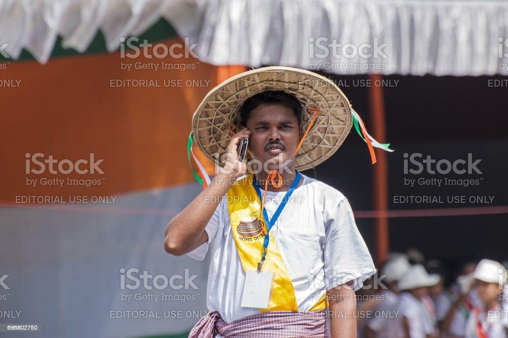 Villager man talking in mobile, digital India stock photo