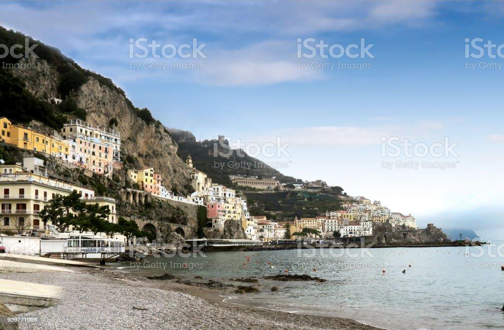 villages along the Amalfi, Italy, coast stock photo