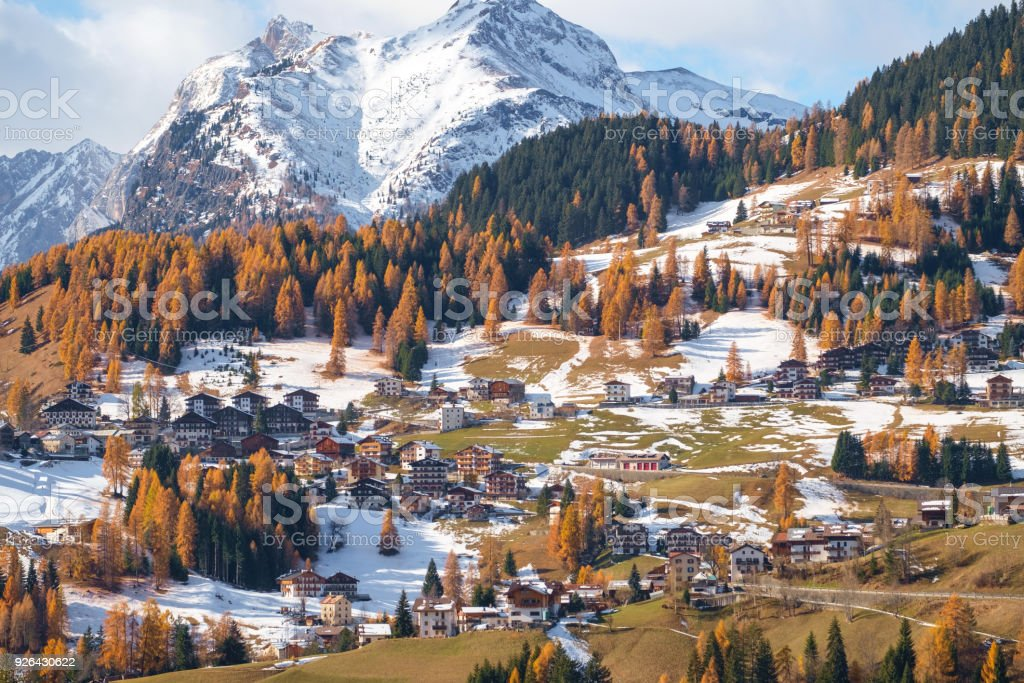 Villages of Colle Santa Lucia at the Dolomites stock photo