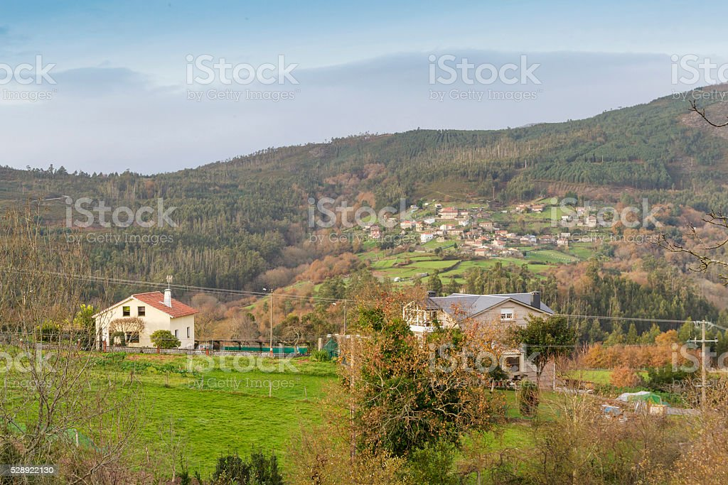 Villages on the mountain of Pontevedra province royalty-free stock photo