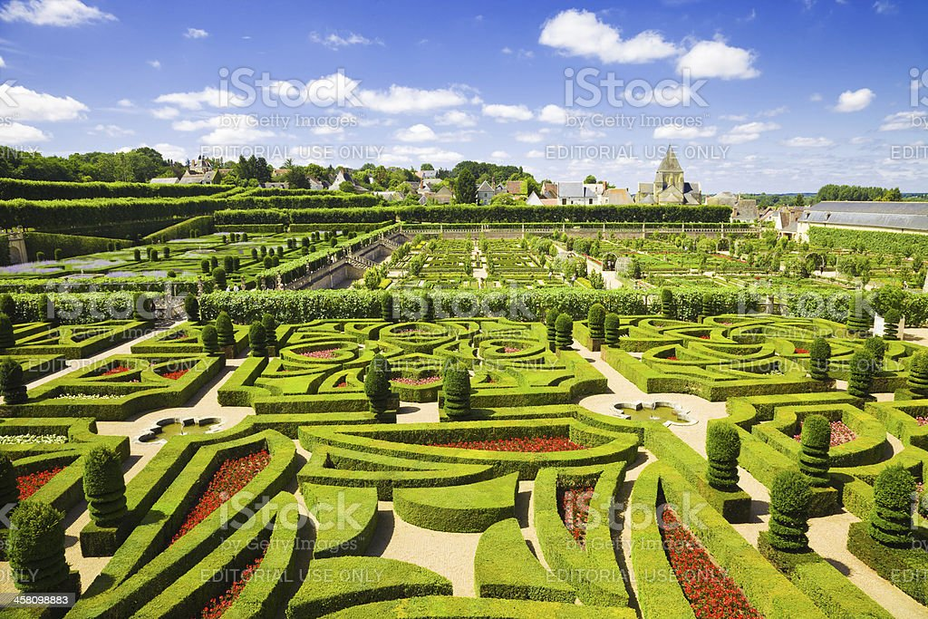 Villandry Chateau gardens panoramic stock photo