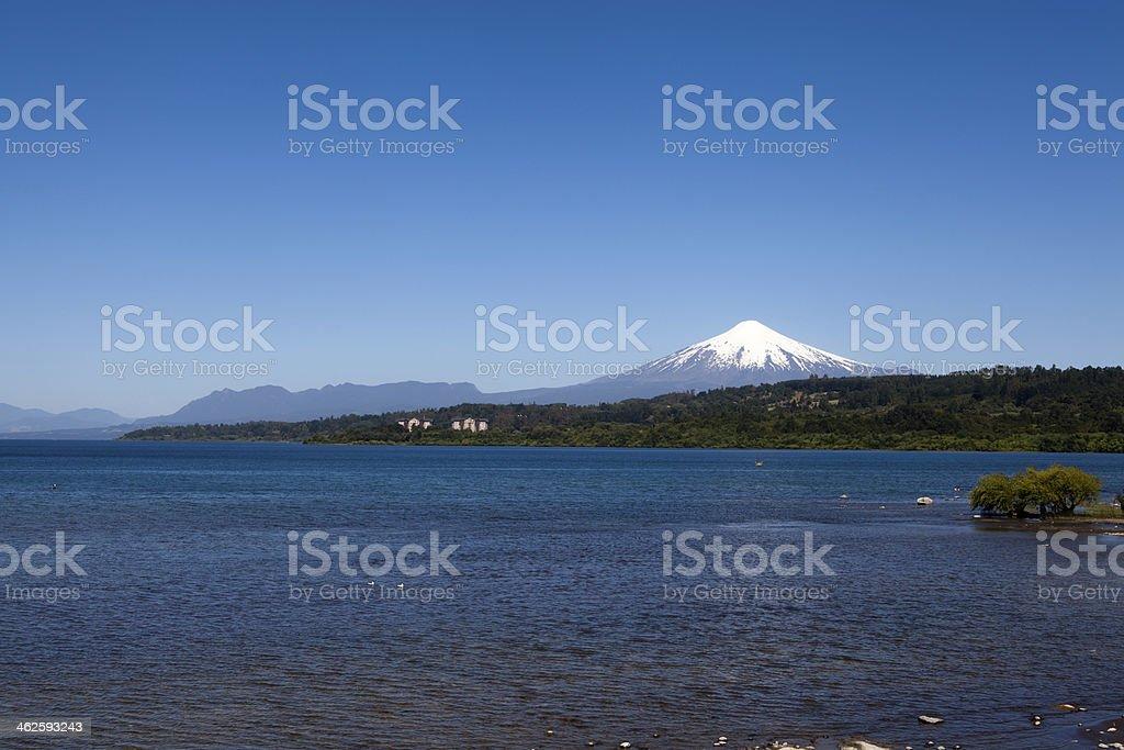 Villarica volcano and lake stock photo