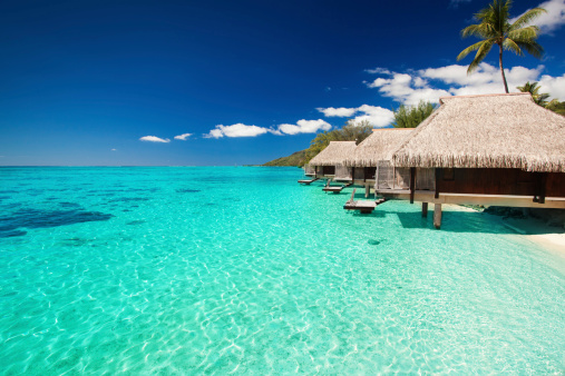 istock Villas on the tropical beach with steps into water 177032867