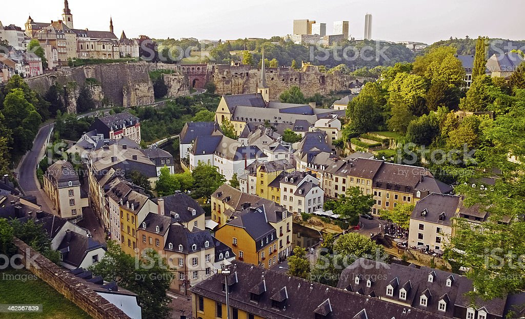 Ville Haute view of Basse gorge in Luxembourg daytime stock photo