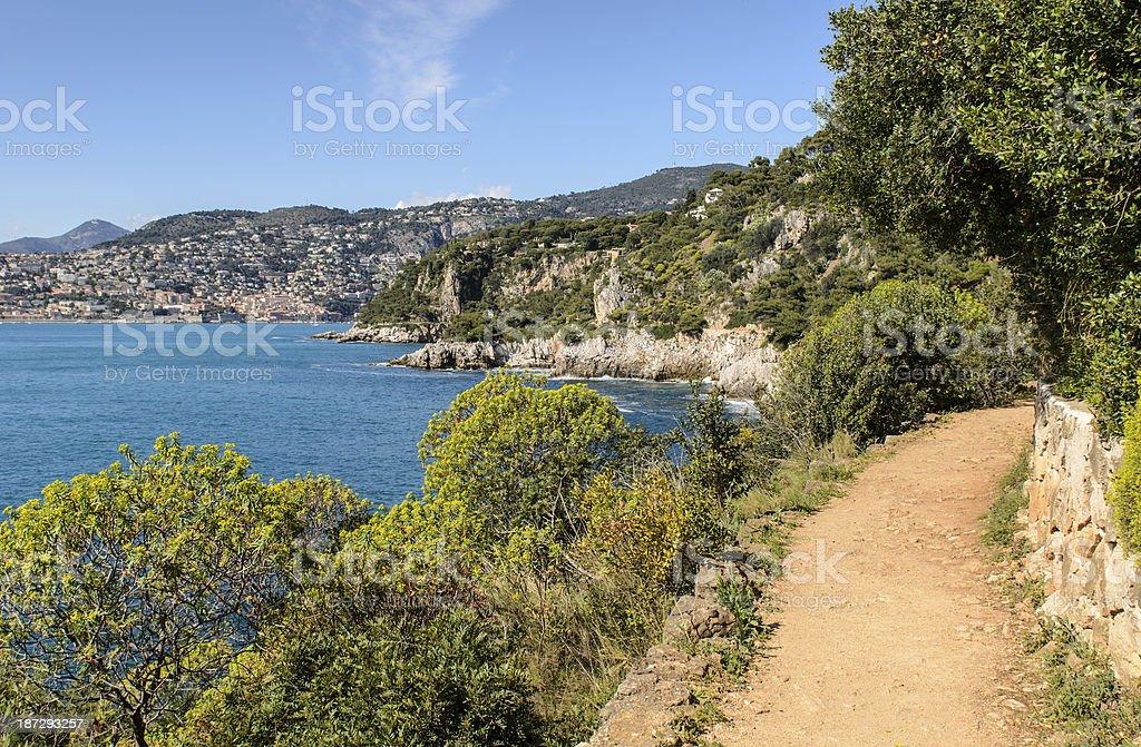 Villefranche Bay from Coastal Footpath of Cap Ferat stock photo