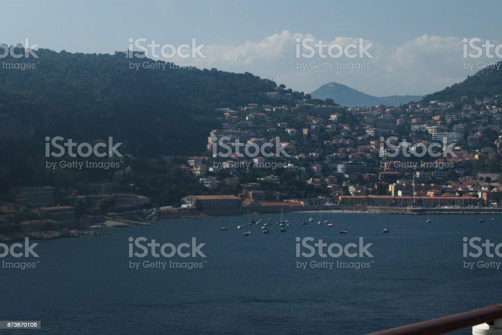Villefranche harbour stock photo