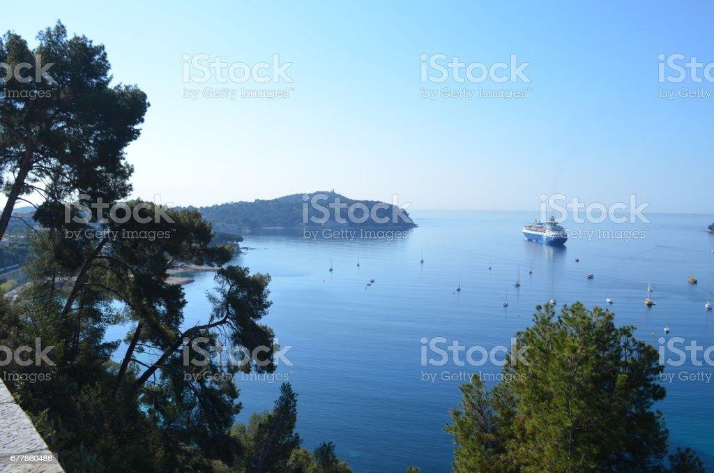 Villefranche, no sul da França na famosa Riveira Francesa, praia de marinières royalty-free stock photo