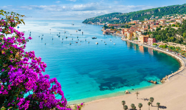 Villefranche sur Mer, French Riviera coast French Riviera coast with medieval town Villefranche sur Mer, Nice region, France provence alpes cote d'azur stock pictures, royalty-free photos & images