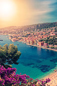 Summer on the French Riviera coastline in the small village Villefranche-sur-mer near the city of Nice