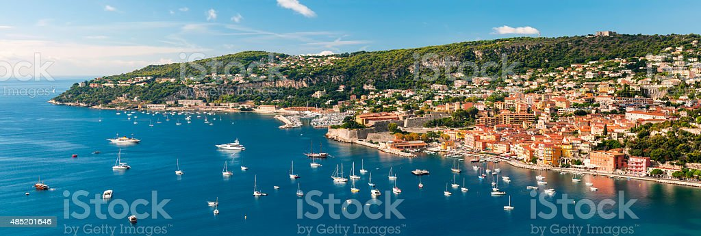 Villefranche-sur-Mer and Cap de Nice on French Riviera stock photo
