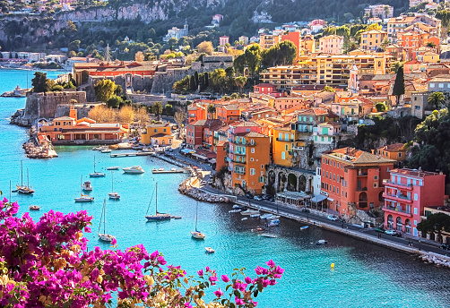 Villefranche-sur-mer on the French Riviera in summer