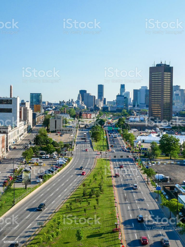 Ville-Marie highway in Dowtown Montreal, Canada. stock photo