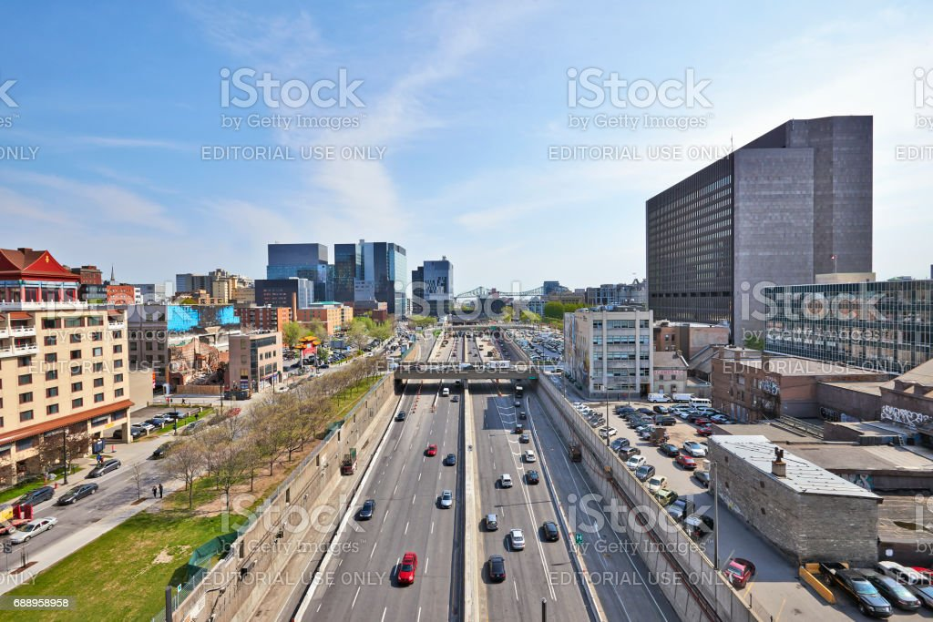 Ville-Marie highway with lot of traffic in Dowtown Montreal stock photo