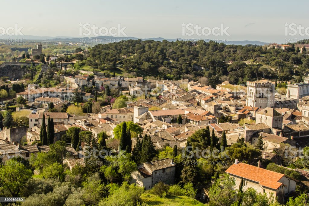 Villeneuve lès Avignon, old Provencal city, in front of the papal city of Avignon, on the right bank of the Rhone river stock photo
