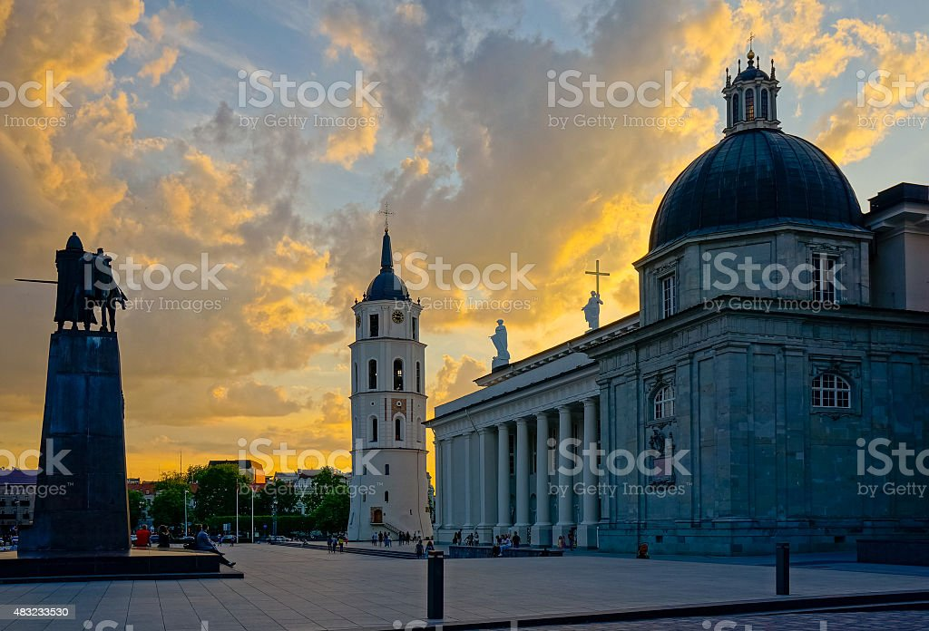 Vilnius cathedral square at evening stock photo