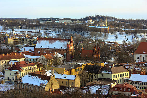 Vilnius City View In Winter stock photo