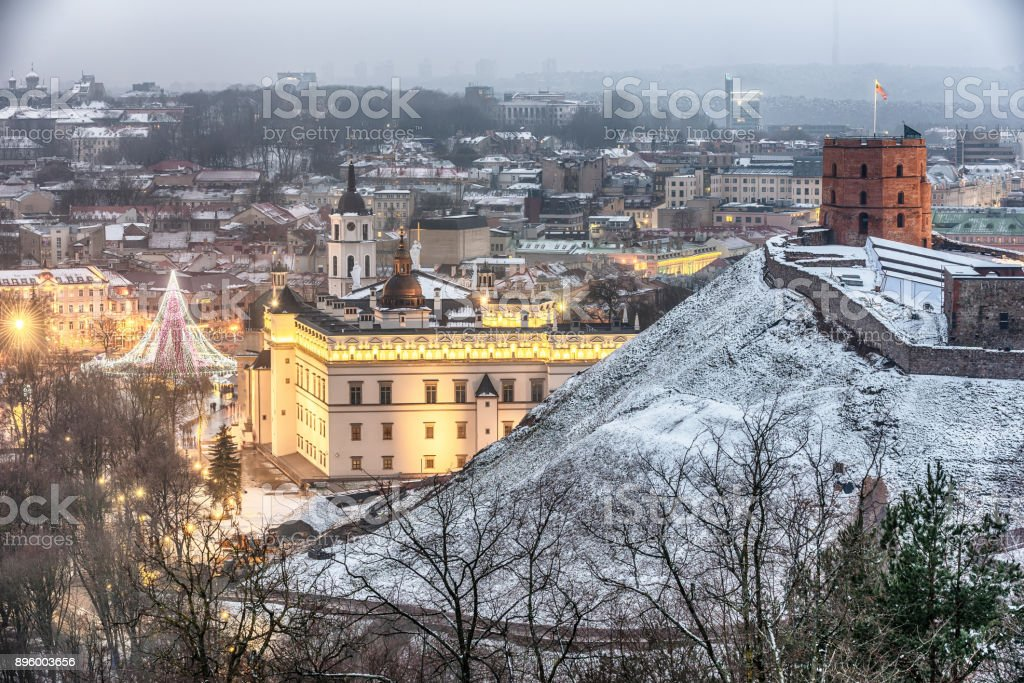 Vilnius, Lithuania: aerial view of the old town,  christmas tree and decorations in Cathedral Square stock photo