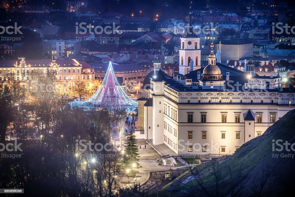 Vilnius, Lithuania: Christmas tree and decorations in Cathedral Square stock photo