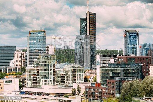 Vilnius, Lithuania  - July 5, 2016: Swedbank Office, City Municipality, City Style Centre Europa, Telia Lietuva. Vilnius Cityscape With Modern Skyscrapers