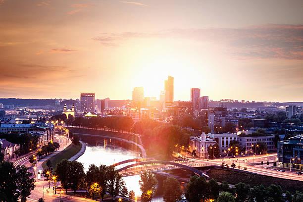 Vilnius new district at dawn stock photo
