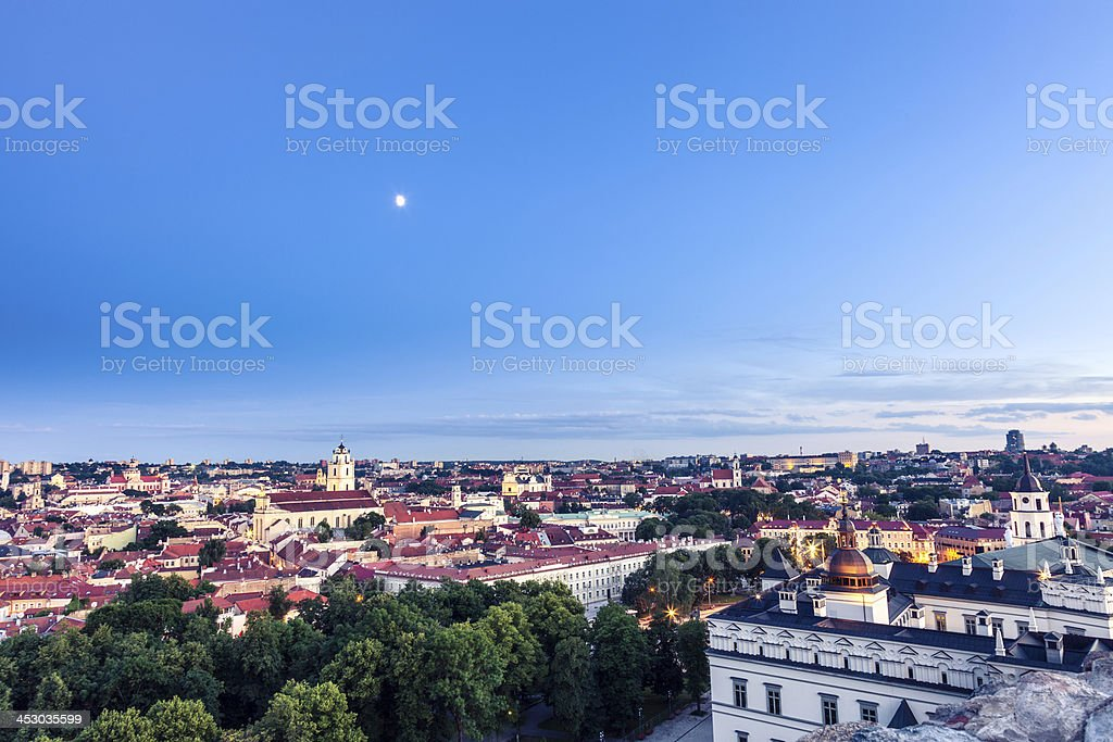Vilnius old town skyline at dusk royalty-free stock photo