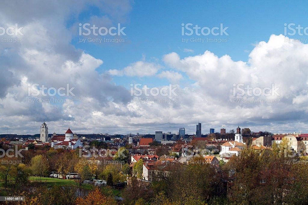 Vilnius panorama in autumn stock photo