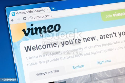 Castleford, England - September 9, 2011: Part of vimeo.com site in web browser on LCD screen. Vimeo is a video community platform similar to YouTube. The basic intention is to offer a kind of stage for all creative people who call their craft moving images. In addition to great clips can be found as well as many screencasts on Vimeo.