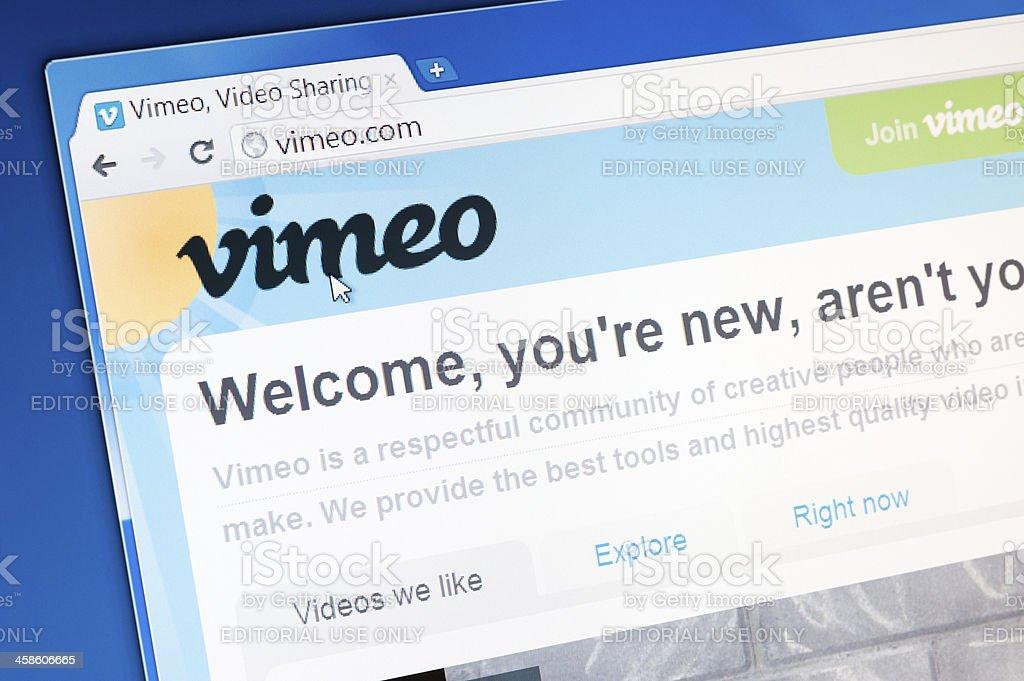Vimeo website homepage stock photo