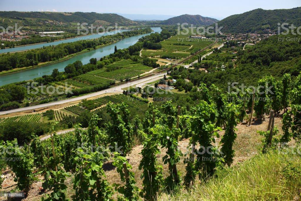 Vin Vigne Monastère Église Vallée du Rhône Frankreich – Foto