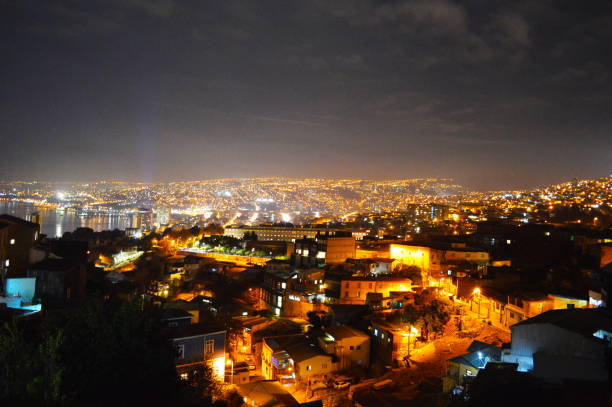 Vina del Mar Chile at night stock photo