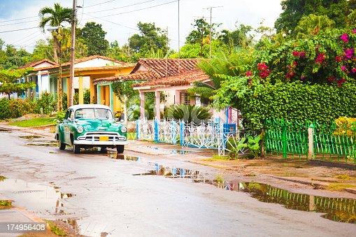 Vintage car in a colorful Vinales (Pinar del Rio, Cuba).