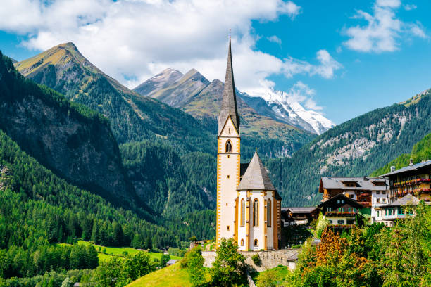 Vincent Church and Grossglockner range on the background. stock photo