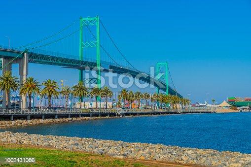 Long Beach bridge, San Pedro bridge, bridge with water, bridge with grass, Terminal Island, San Pedro, port of Long Beach