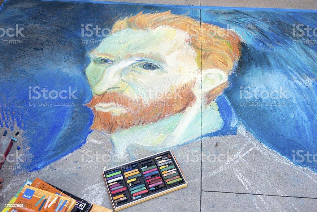 Vincent Van Gogh Chalk Drawing portrait stock photo