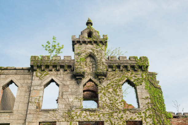 vine covered historic architecture in ruins on roosevelt island nyc - roosevelt island foto e immagini stock