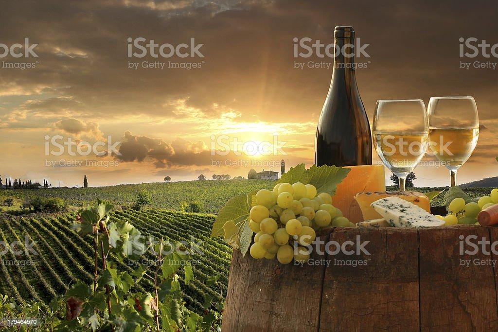 Vine landscape with wine still-life in Chianti, Tuscany, Italy stock photo