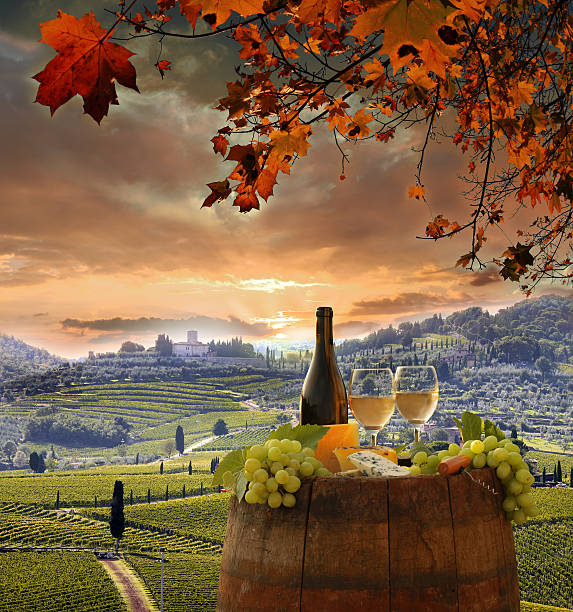 Vine landscape with wine still-life in Chianti, Tuscany, Italy stock photo