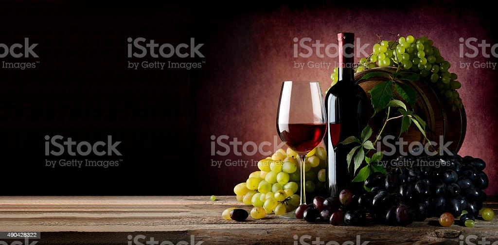 Vine of grape with wine stock photo