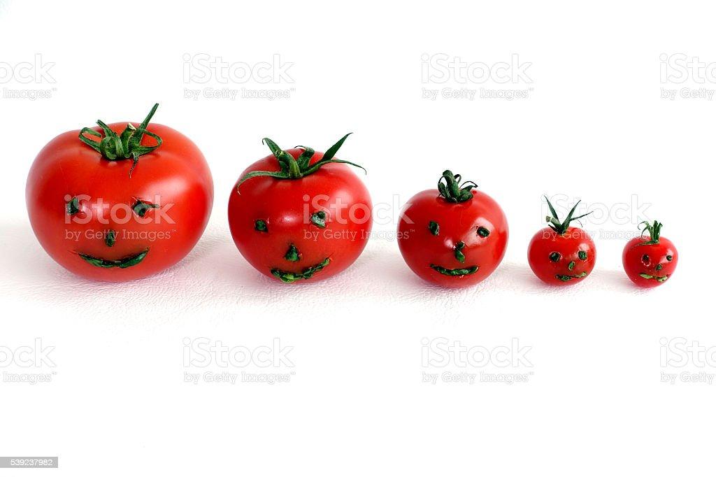 Enredadera tomates con cara sonriente sobre un fondo blanco foto de stock libre de derechos