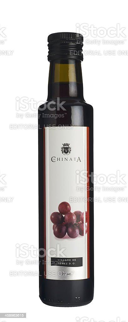 Vinegar bottle labeled in Spanish. stock photo