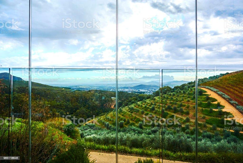 Vineyard mountains in Stellenbosch valley South-Africa zbiór zdjęć royalty-free