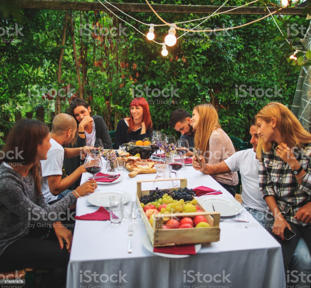 Vineyard party at agriturismo in Italy - foto stock