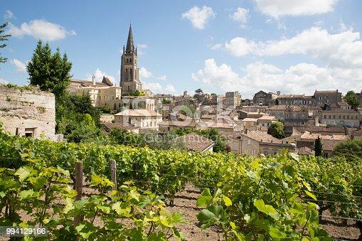 landscape view of Saint Emilion village in Bordeaux region in France