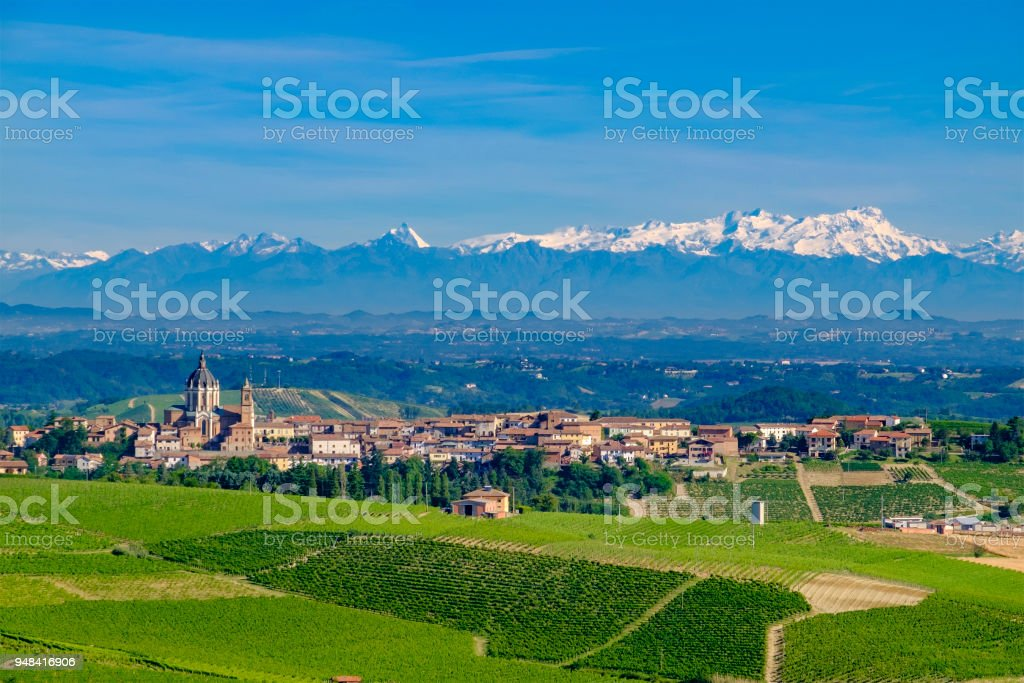 Vineyards in the Monferrato, a hilly area mostly based on vine cultivation. Province of Alessandria, Piedmont, Italy stock photo