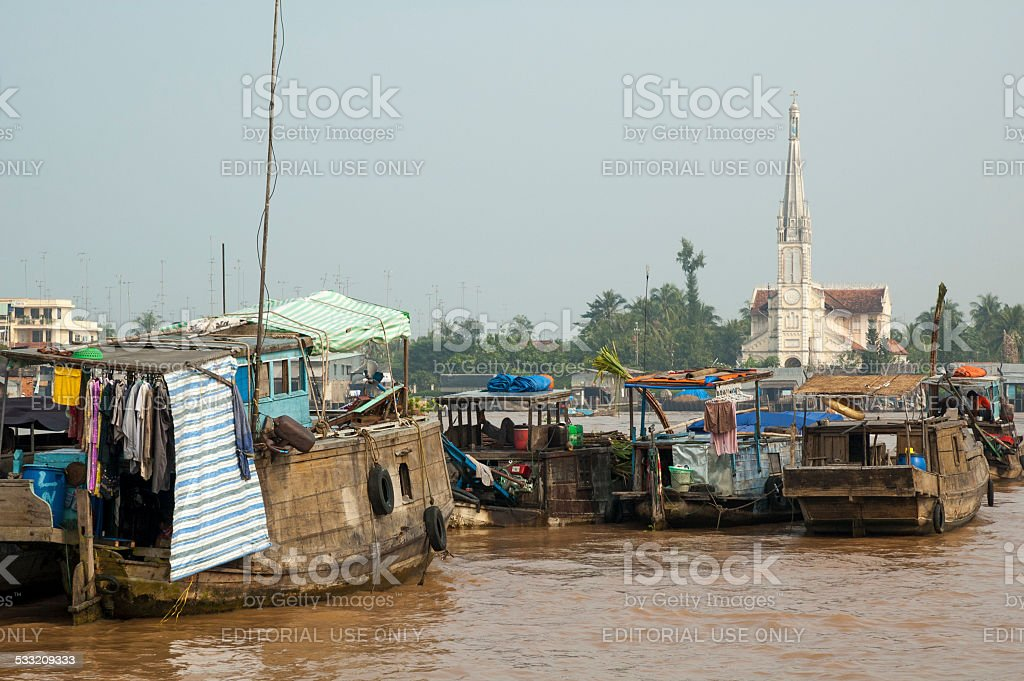 Vinh Long Floating Market stock photo
