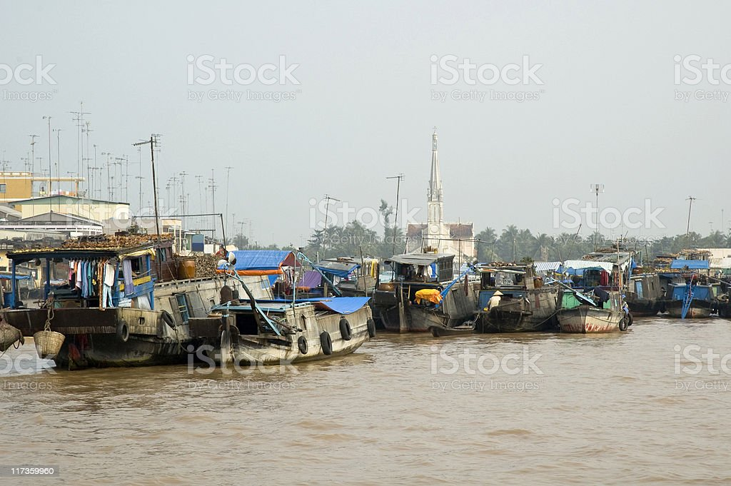 Vinh Long River Market stock photo