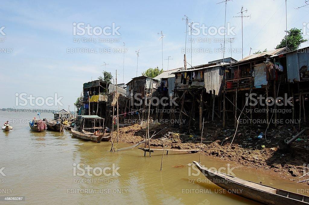 Vinh Xuong - Vietnam border, floating village royalty-free stock photo