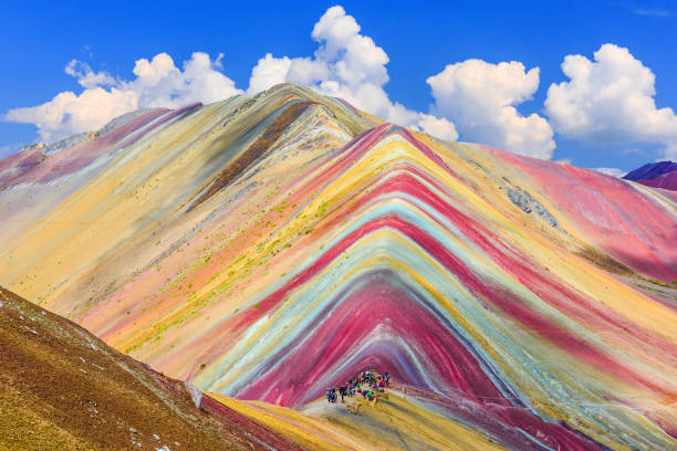 vinicunca, cusco region, peru. - mountain range stock photos and pictures