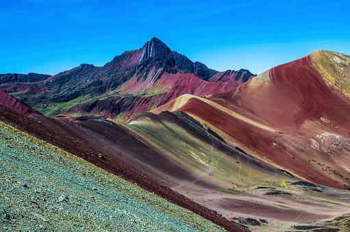 istock Vinicunca, Peru - Rainbow Mountain (5200 m) in Andes, Cordillera de los Andes, Cusco region in South America. 879363976