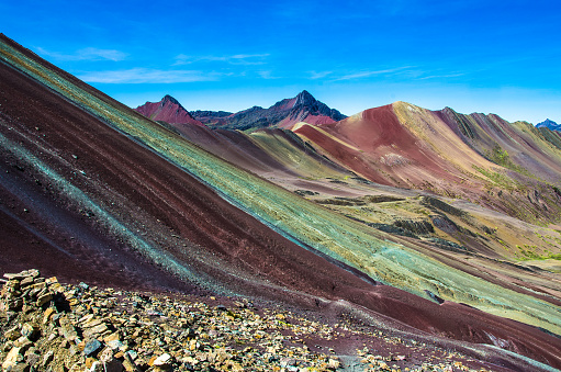 istock Vinicunca, Peru - Rainbow Mountain (5200 m) in Andes, Cordillera de los Andes, Cusco region in South America. 879364568
